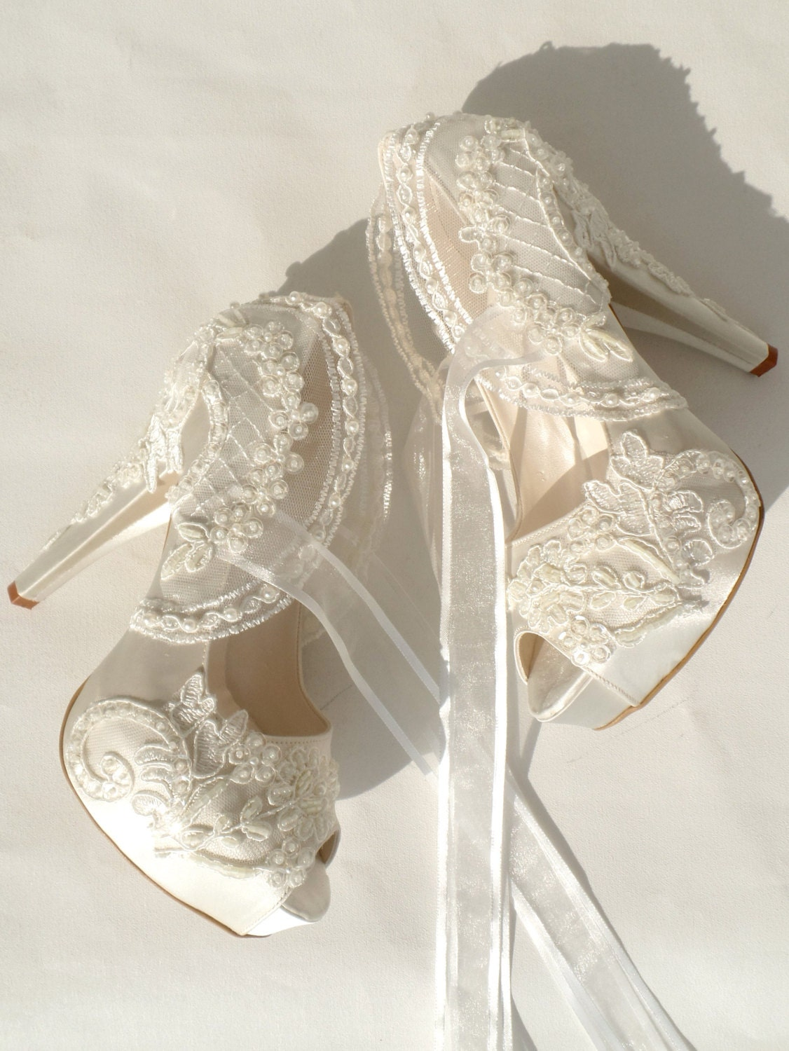 Wedding Shoes Ivory Embroidered Lace Bridal Shoes