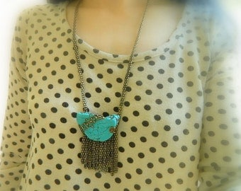 Genuine Turquoise necklace boho necklace Raw stone necklace Long boho jewelry bronze fringe necklace raw stone necklace statement necklace