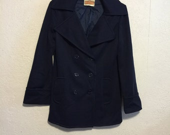 Vintage Navy Blue Polyester Double Breasted Jacket