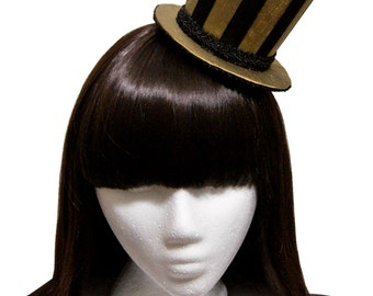 Gold and Black Striped Velveteen Circus Gothic and Lolita Steampunk Ringmaster Top Hat - Made to Order