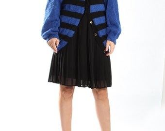 Vintage Electric Blue Striped Cardigan Mohair Sweater / 80s Mohair Winter Cardigan / Womens Size Large Oversized / Black and Blue Stripes