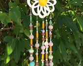 Flower Beaded Mobile, Crystal Bead Sun Catcher, Hanging Garden Yard Art, Recycled Jewelry Art, Porch Decor, Wall Window Hangin, Wind Chimes