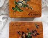 French Vintage , French Violets , 2 Little Antique Boxes, Hand Painted flowers, Hand Painted Boxes, Tiny !collectors Boxes, Boudoir Boxes