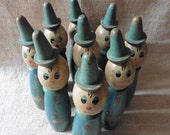 On Reserve Please Do Not buy !!;French Vintage,Bowling Pins,  9 Skittles ,Clowns , Large Clowns, Antique Toys ,French Vintage Childhood