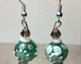 Free Shipping - Lampwork Earrings/Czech Glass Earrings/Mother Of Pearl Earrings/Silver Earrings/Green And Rose Earrings