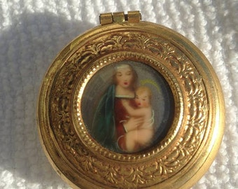 Antique Italy Gold Trinket Box with Miniature Painting ~ Virgin Mary Infant Jesus ~ plus contents