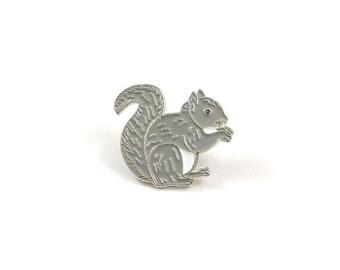 Squirrel Pin, Enamel Pin, Lapel Pin, Squirrel Jewelry, Squirrel Tie Tack, Gray Squirrel, Animal Lapel Pin, Animal Jewelry, Fall Brooch