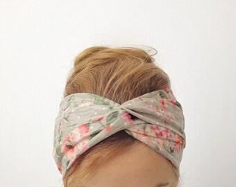 pastel jersey knit turband twist headband beige floral knotted turban head wrap summer head band beach hair accessory head cover lightweight
