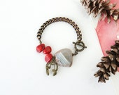 Raw Agate Stone Statement Bracelet with Music Headphone Charm, Red Coral Stone, Music Lover Jewelry