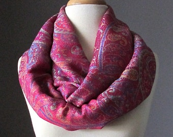 Pink infinity scarf, pashmina , floral scarf, paisley scarf