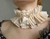 Organic cotton fabric choker Lolita Collar Ivory choker Victorian rose collar necklace Neck ruff Wide choker High ruffle collar Neck corset