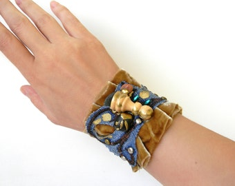 Fabric Velvet Cuff Bracelet, Mixed Media Collage, Contemporary and Quirky Jewelry, Wrist Cuff, Arm Cuff, Textile Jewelry, Velvet Jewelry