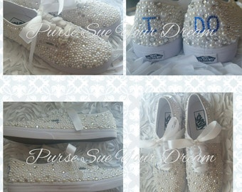 Custom Pearl and Crystal Rhinestone Bridal Vans Wedding Shoes - Custom Swarovski Shoes