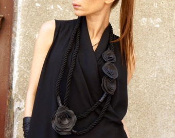 NEW Collection Black Rope Extravagant Genuine Leather Roses Necklace / Summer Accessory by AAKASHA A16386