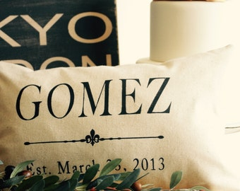 Custom grain sack style pillow, wedding, anniversary, birth date, feed sack, flour sack