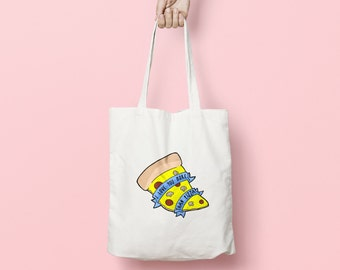 Love You More Than Pizza Tote Bag: funny eco friendly shopping bag with pizza illustration. Useful & fun gift for foodies and pizza addicts!