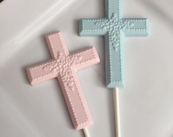 Chocolate Cross Lollipops Religious Candy Party Favors Baptism First Holy Communion Christening Confirmation