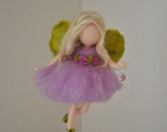 Room  Decor Needle Felted wool doll   : Purple flower fairy with crystal
