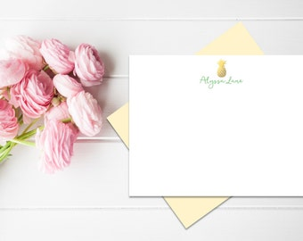 Personalized Stationery | Personalized Stationary | Pineapple Stationary | Pineapple Stationery | Custom Stationary Set | Custom Note Cards