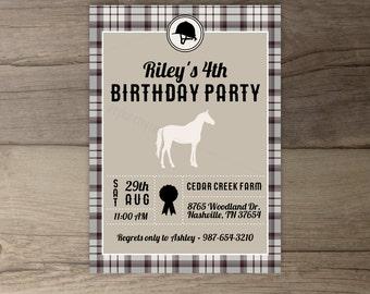Equestrian Birthday Party Invitations •Horse Riding Plaid Boy • DIY Printable