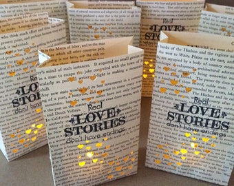 Book Luminaries, Real Love Stories Don't Have Endings, Book Wedding, Book Decor, Book Lovers, Library Wedding, Happily Ever After