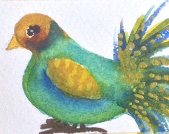 ORIGINAL ACEO  Green Bird Watercolor Painting, OOAK, Small Gift, Scrap Booking, Card Making, Blue Olive Gold Sparrow Art, Miniature Art Card
