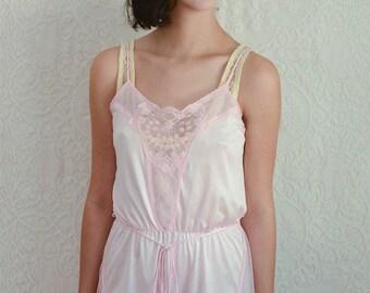 vintage 1970s pale pink onesie with sheer panels