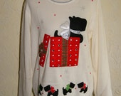 Collectible Ladies White Christmas Sweater With Scottie Dogs And Presents Motif Unmarked Size XL
