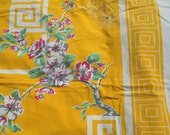 "Vintage Mod Asian Tablecloth Yellow Pink Flowers Cherry Blossoms Roman Key 68"" x 60"""