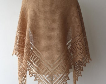 15% OFF - Shawl,  camel beige hand made alpaca shawl, warm and soft