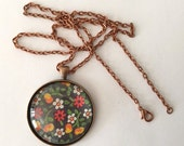 Long Pendant Necklace / Statement Jewelry / Vintage Cherry Print / Copper Chain / Gifts for Her / Made in USA / Bridesmaid Favors