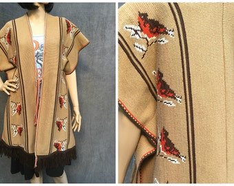 SUPER SALE>>> 70's Chickadee Sweater Poncho - Boho Folk Southwestern Serape Ties in the Front with Bird Detail