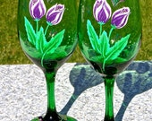 February Birthday Gift Painted Wine Glasses With Purple Tulips And Wine Glass Charms, Mothers Day Gift, Gifts For Her