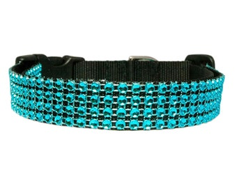 "Rhinestone Dog Collar 5/8"", 3/4"", 1"" or 1.5"" Turquoise Bling Black Buckle or Martingale Style Dog Collar"