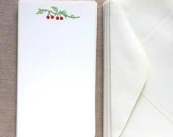 Flat Card Set with Letterpress Cherries (vertical)