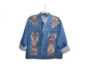 Vintage Southwestern Denim Jacket Boho Denim Jacket Womens Denim Jacket 80s Jean Jacket Size Medium