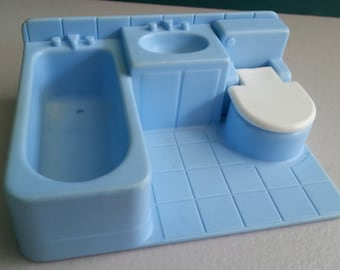 Vintage FISHER PRICE Little People Neighborhood 2551's Modular Bathroom in Light Blue - Toilet Sink Bathtub Tub House Play Family Dollhouse
