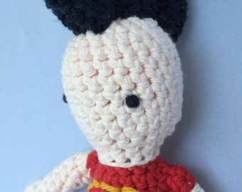 Punk with Black Mohawk and Anarchy T-Shirt - Amigurumi Crocheted Doll, 9 inches tall