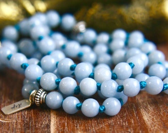 Knotted Gemstone Mala Angelite 108 Mala Beads Sterling Silver Prayer Beads Yoga Jewelry Japa Mala Necklace Bhakti Yoga Tassel Spiritual Blue