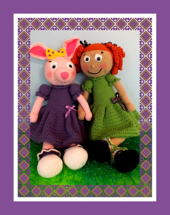 Zoe Girl and Jelly Bean Bunny Rabbit Crochet Dolls Pattern©
