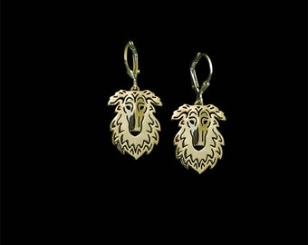 Borzoi earrings - gold.