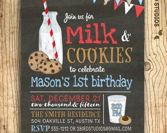 Milk and cookies invitation -  Milk and cookies birthday party -  - cookies and milk party - Chalkboard boys birthday party invitation