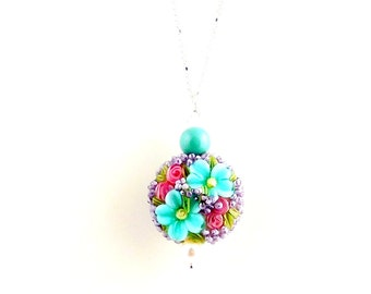Aqua Blue Floral Lampwork Charm Necklace, Pendant Necklace, Flower Jewelry, Gifts, Fashion Jewelry, Lampwork Jewelry