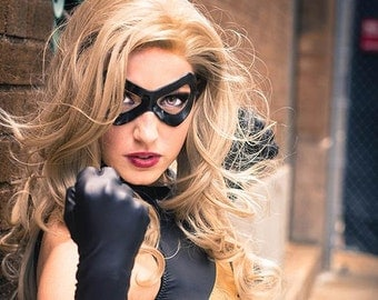 Leather Mask Ms. Marvel Cosplay Carol Danvers Woman Super Heroine Sexy Masquerade Halloween Costume Carnival Party Black Cat Harley Quinn