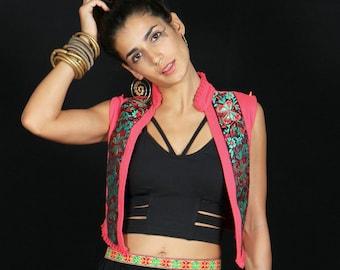 Flower Power Vest / Music Festival Clothing / Boho Chic / All Year Clothing / Ethnic Vest / Gypsy Clothing / Gift For Her / Open Vest