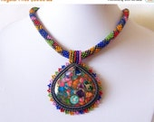 15% SALE Beadwork Bead Embroidery Pendant Necklace with Rainbow Sea Jasper and Pyrite - SUMMER JOY - Summer collection - Colorful Geometric