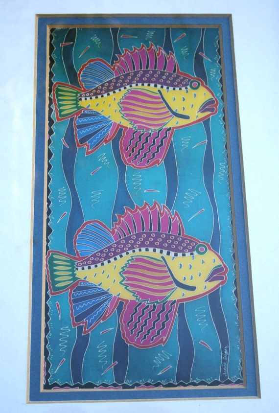 80s HAWAIIAN FISH by Judith Geiger Signed Framed Art Print in Vibrant Neon Fluorescent Pink Yellow Green Blue from an Original Watercolor