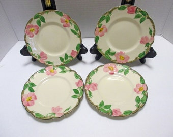 Franciscan China Desert Rose Pattern - Bread and Butter Plates (USA) - Set of 4 - 1940s