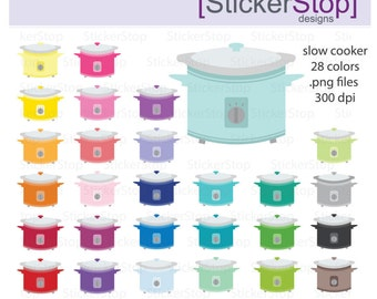 Slow Cooker Clipart 28 colors, PNG Digital Clipart - Instant download - crockpot, instapot, dinner, cooking