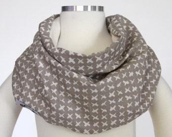 100% Organic Cotton (Beige Cross Stitch) SCABIB scarf/bib for children